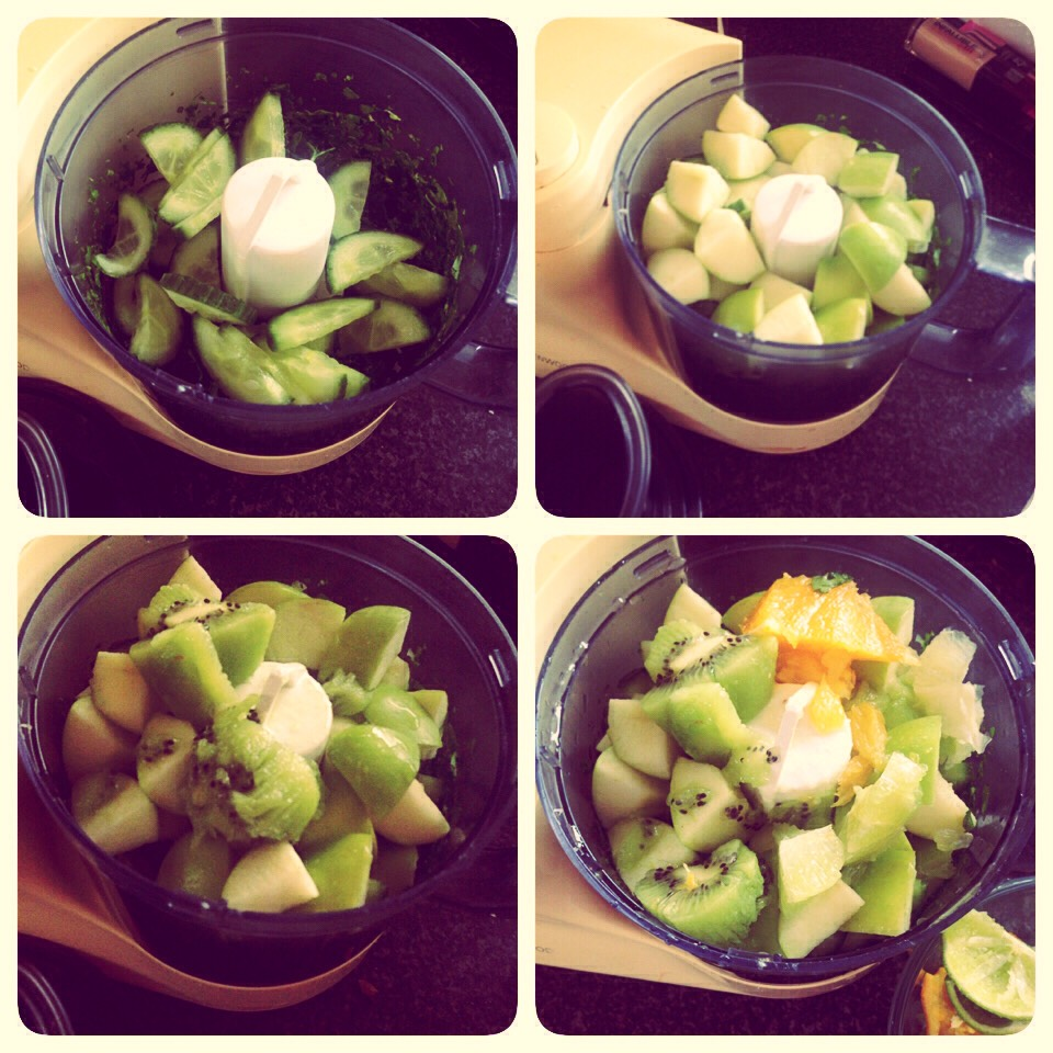 Chop up the cucumber, Apple and pear.. Peel and break up the orange, lemon and lime..  Scoop out the kiwi and blend all together