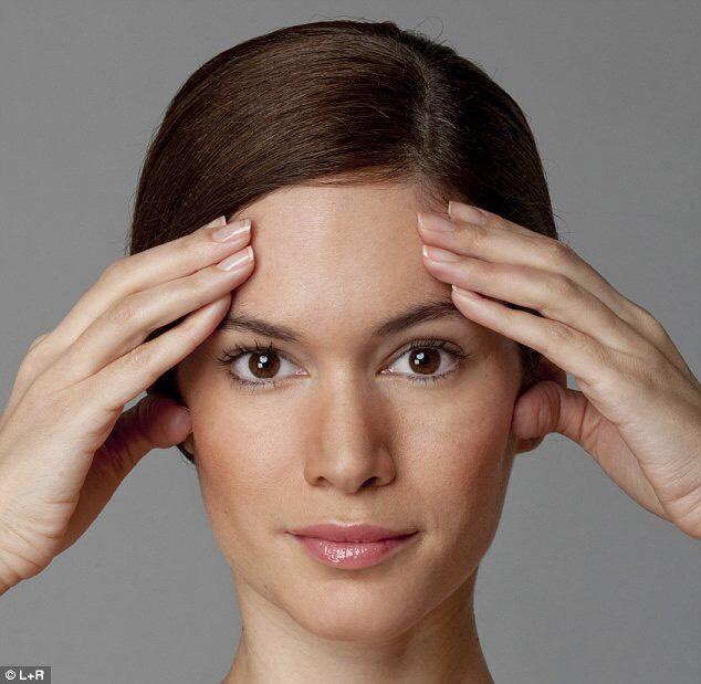 Forehead push 1.Sit up straight. 2. Placeyour palms on your forehead 3.Pushyour forehead against yourpalms, using the resistance to engage your neck muscles. 4.Liftyour chin slightly, and gentlyclench the back teeth as you push. Hold for four to five seconds and release.