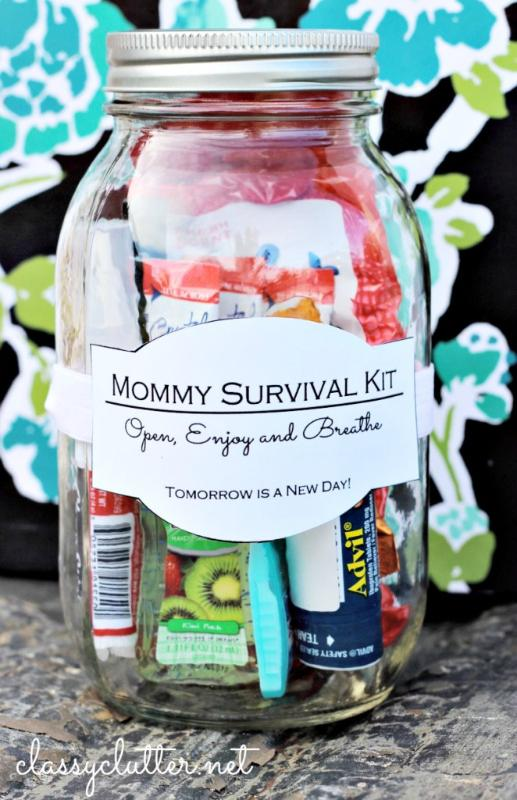 You can't lie, ALL moms need this!  Add some candy, perfume, advil, whatever you think your mom would like in a mason jar.  Tie a ribbon around the jar and you're good to go!