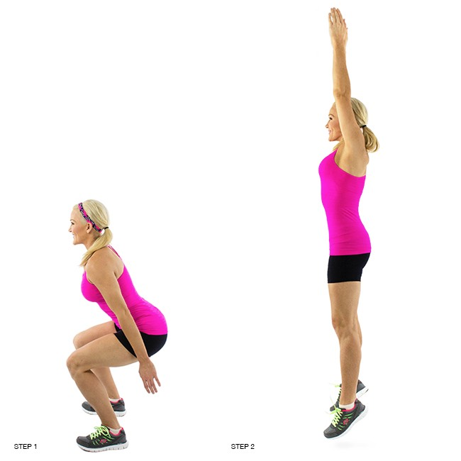 1. Power Squats:Thismove will get your heart rate up and begin the fat-burning process.Start thiswith one minute of high intensity effort, then resting for 30 seconds before moving onto the next move. To learn this move,click here.