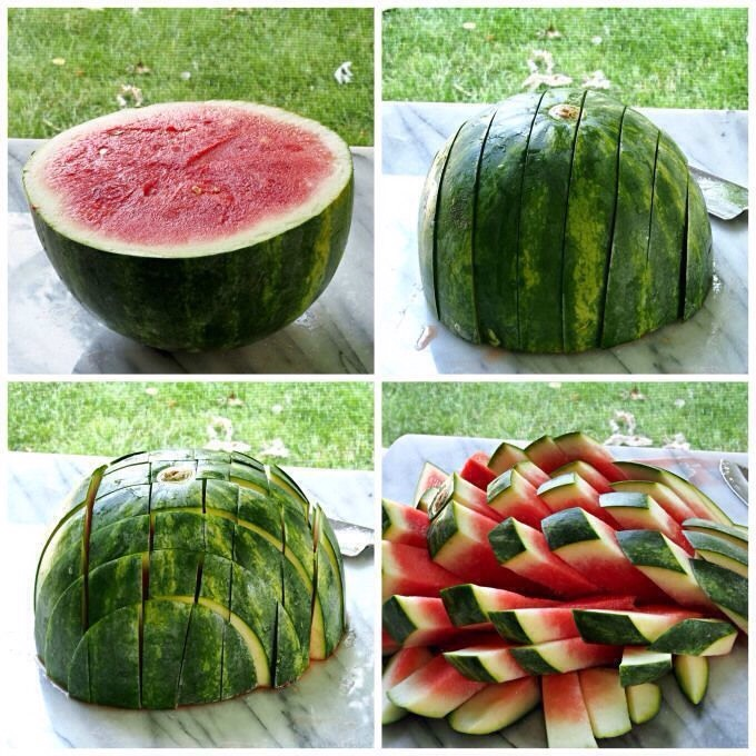 Cut a watermelon like this to make awesome little watermelon pops!