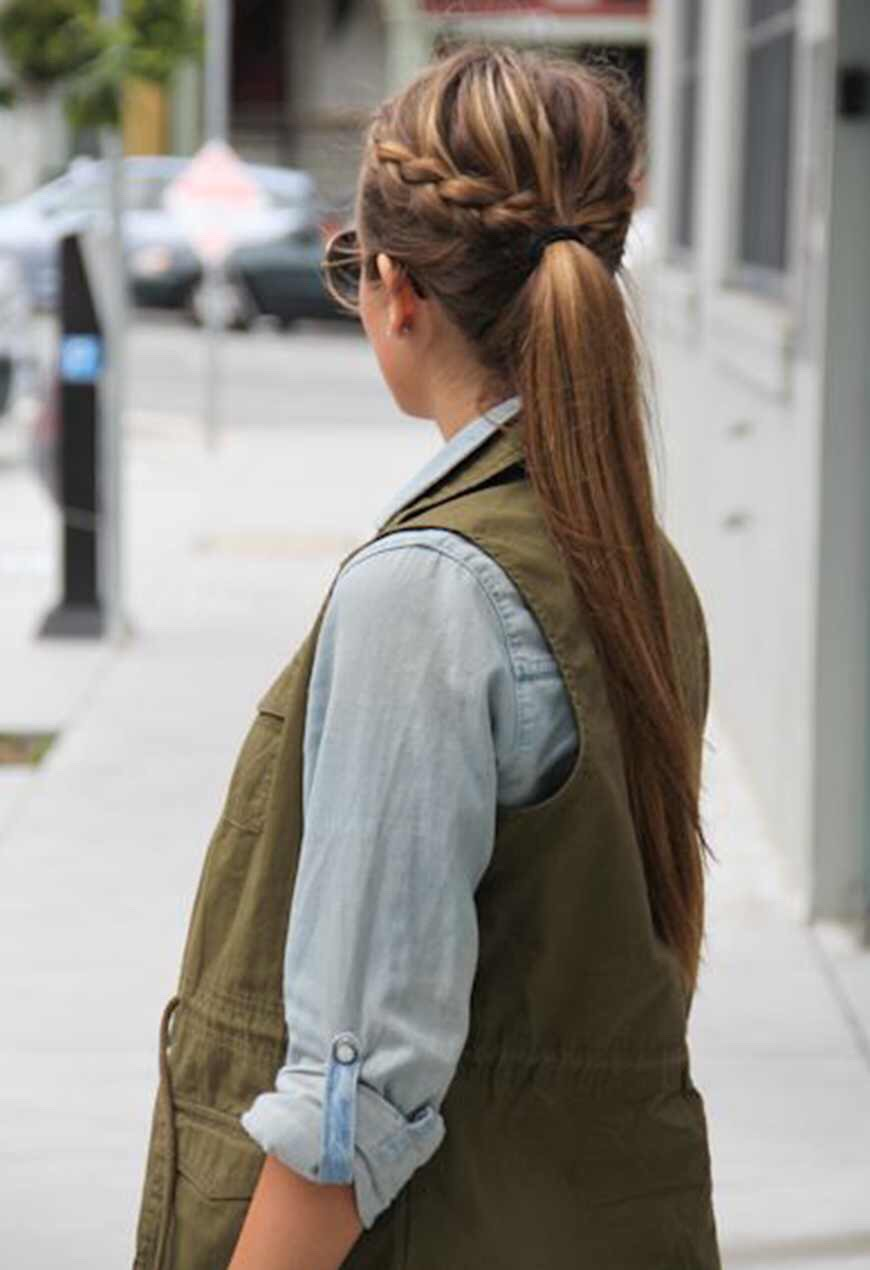 6. Side French braid into ponytail
