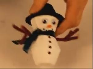 Make a snowman decoration from recycled material.
