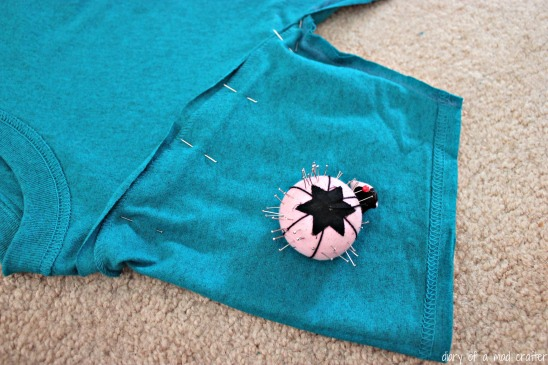 After I sewed the sleeve smaller, I pinned it back to the original hole.
