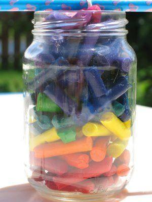 Use up old crayons bits by placing the old crayons in a jar with the wick, and leaving in the sun!  This will be melted in no  time in Texas!  Thanks for liking and sharing! <3