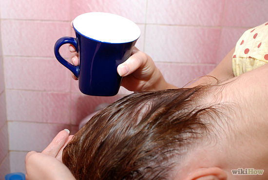 Pour the tea over the area of hair you want lightened then quickly rinse. Towel dry afterwards to prevent heat damage