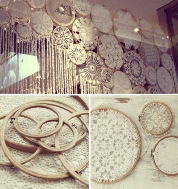 This is great idea for old lace table cloths. Very easy to make and  looks very nice.
