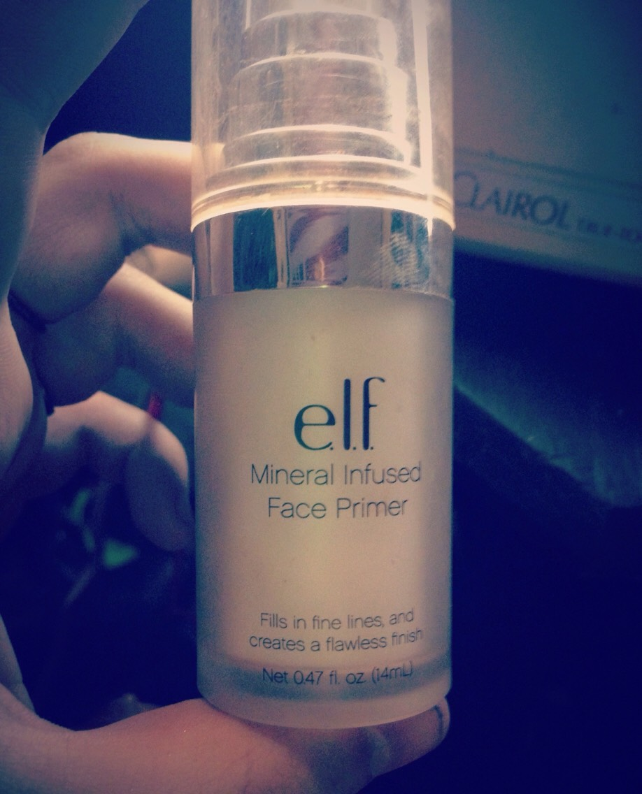 First, we start with this magical potion. Elf Mineral Primer, it makes your pores disappear and your skin soft. It's great.
