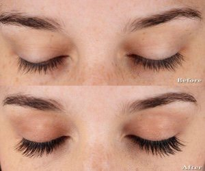 Apply the mixture thickly to your lashes before you fall to sleep and gently wipe off the excess in the morning.