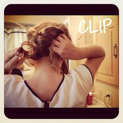 5.Clip each of the two sections underneath the chignon. The loose chignon should be able fall over the clips to cover them.