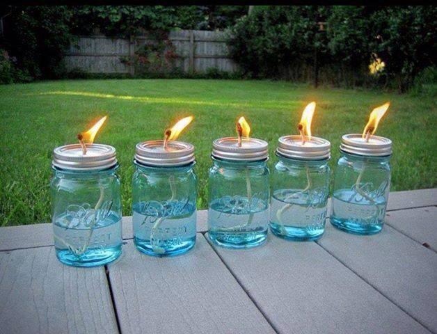 Mason Jar   Cotton string   Citronella Oil Let string soak for 10-15 minutes before lighting.