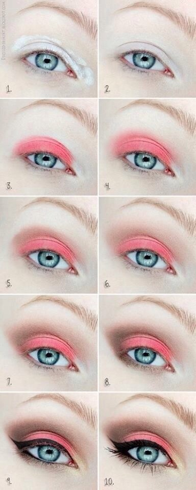 1. Apply base used NYX jumbo pencil in milk 2. Blend out 3. Apply a reddish/pink color, color from bh cosmetics pallet 4. Blend out to soften 5. Apply naked by UD 6. Blend out7. Apply Swiss chocolate by Mac and blend 8. Apply dark horse by UD on outer V. And drag to lower lash line, add liner