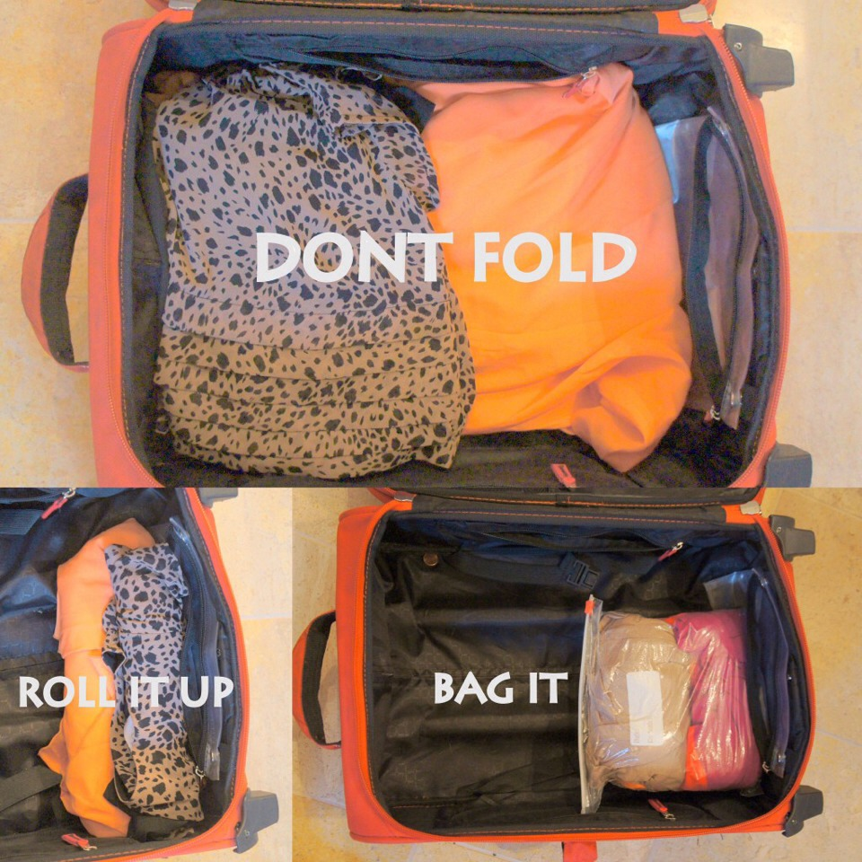 You can even put the rolled clothes into separate bags for even more room!
