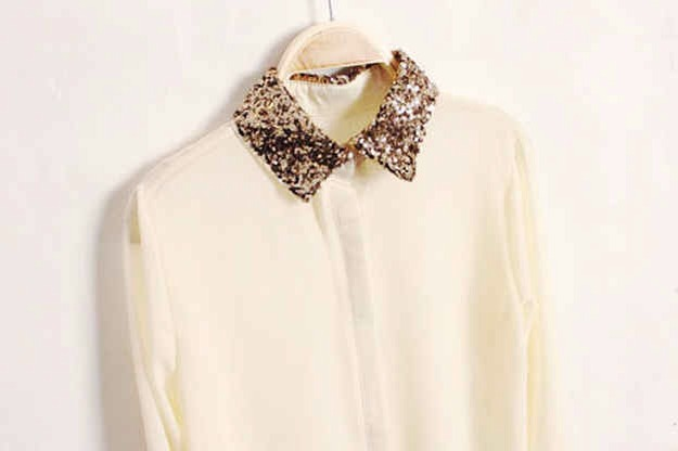 Forget the necklace. Add a sequinned collar to your basic button up for the maximum impact