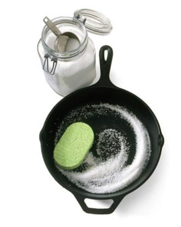9. Use salt to clean cast iron without losing the cure.
