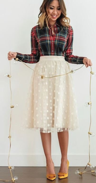 Items: 1.) Green Red And White Collared Long a Sleeved Flannel 2.) Creamy White Flowy/Puffy Polkadotted Skirt 3.) Gold Heels