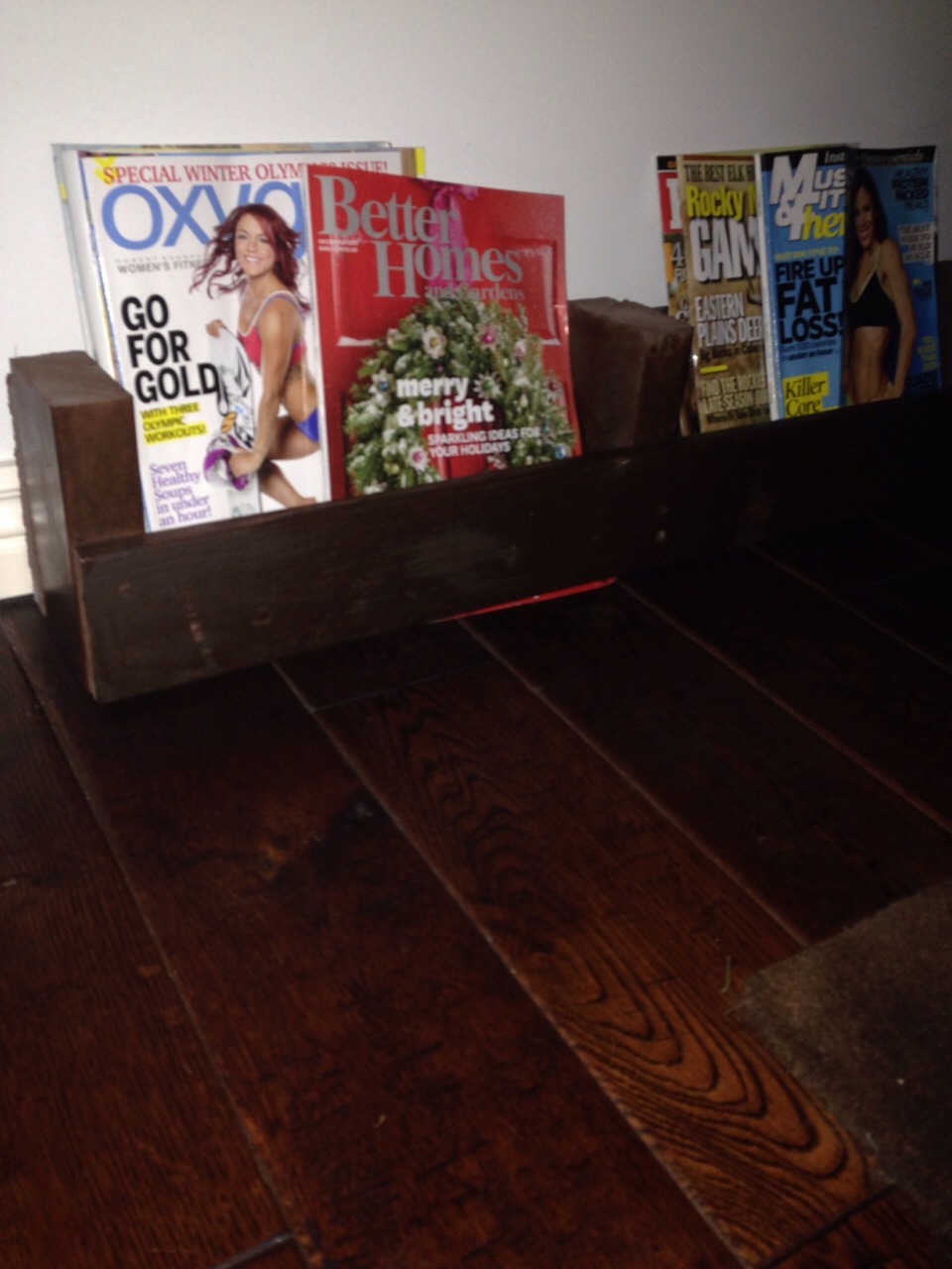 Same exact idea as the wine rack but didn't have a bottom- so I sat it on the floor as a magazine rack- right?! Amazing