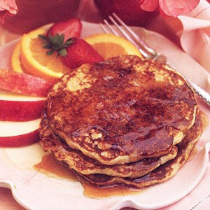 These diabetic-friendly pancakes are low in fat and easy to make. Serve with fresh fruit to make it more filling, or add fruit right into the batter. For a heart-healthy whole wheat option, use whole wheat flour.