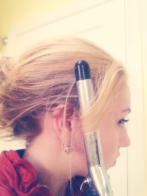For the formal up-do, you do need heat on a small portion of your hair. Save two pieces of your hair on both sides of your head and use your curling iron to curl them (be careful using the heat and don't keep it on your hair for too long)