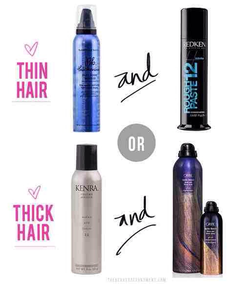 For thin hair:Bumble +Bumble thickening mouse and Redken Thickening paste  For Thin Hair: Kenra volumizong mousse and Oribres apres beach spray