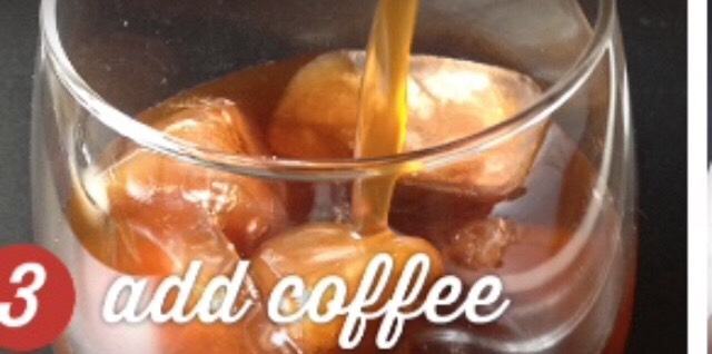 Put ice cubes in cup and then add coffee to the frozen ice cubes.