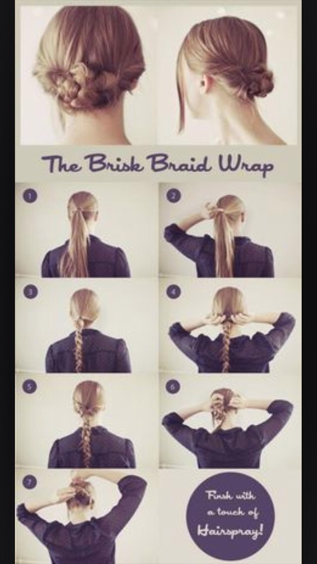 First do a French braid and then wrap it around and secure with bobby pins.