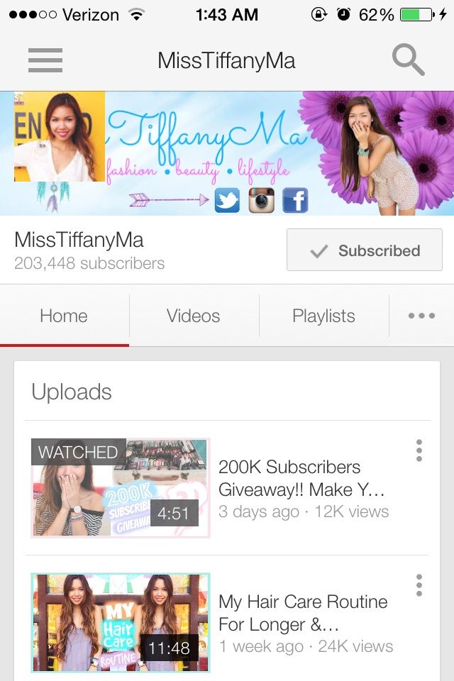 Tiffany is a cute and funny girl who is really into lifestyle videos and some DIYs.