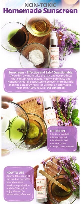 Youmight aswell make your own sunscreen, using all natural ingredients that are good for your skin and foryour body.  Mix all ingredients in a container with a tap (use a mask when adding the zinc oxide, to avoid inhaling it). Shake the mixture for a few minutes, in order to homogenize it well.