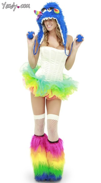 Monster, all u need is a monster hat, fuzzy legg warmers, tutu, leggings and a shirt.