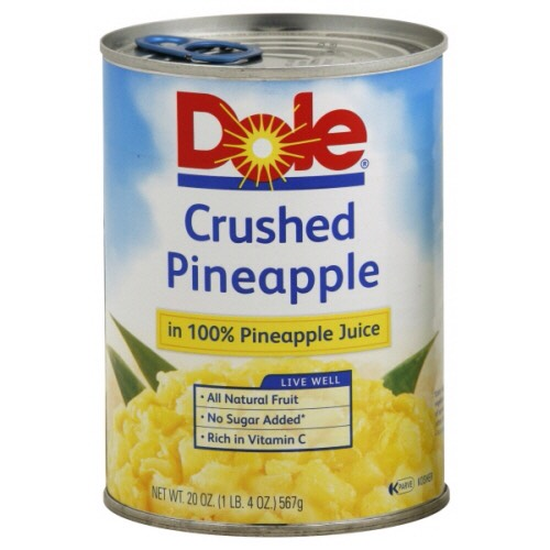 Next, dump in a can of crushed pineapples.