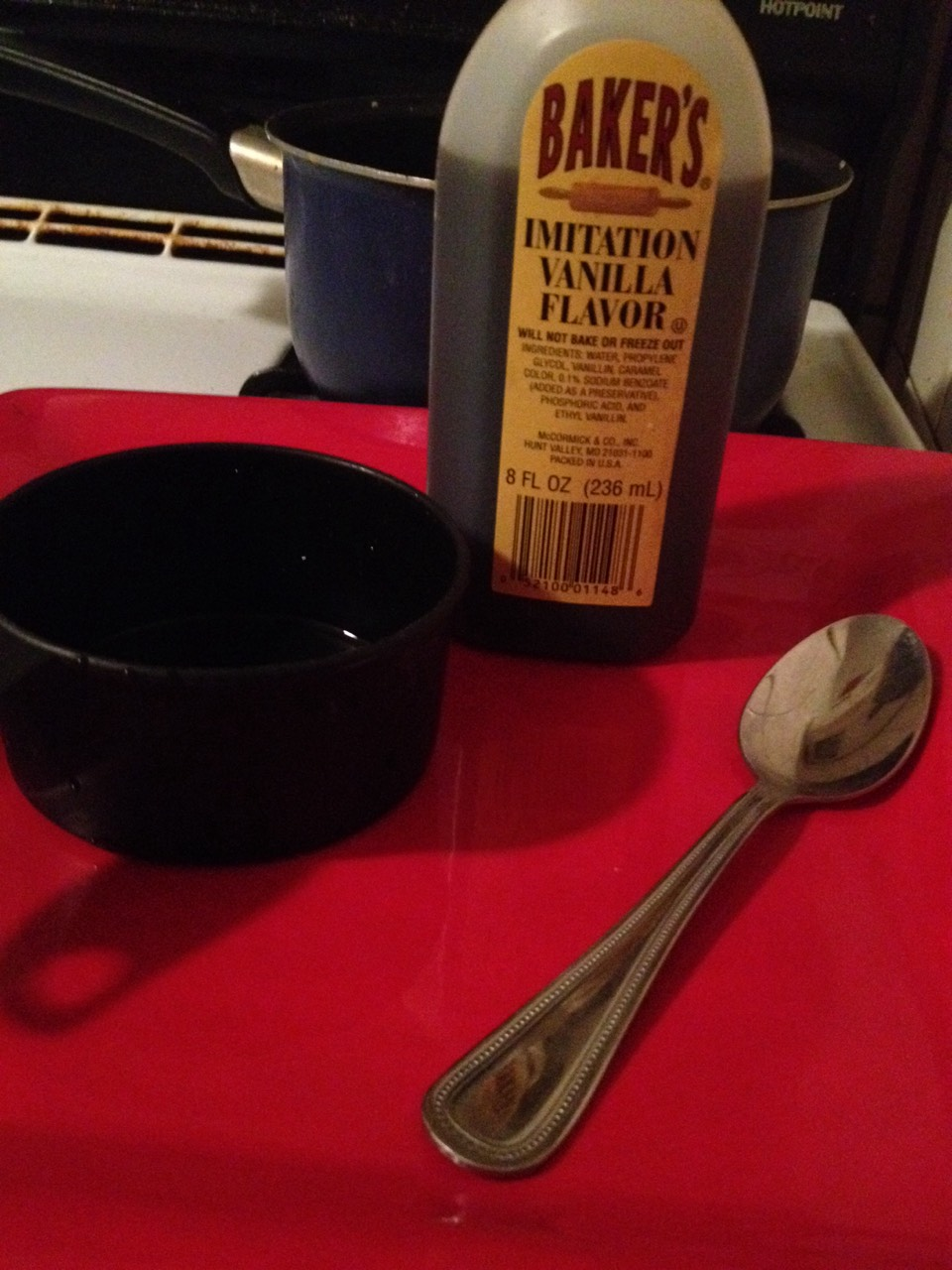 Next put cold water into the measuring cup then pour into saucepan,after you bring to a boil you simply pour 3 spoon fulls of vanilla into sauce pan,and now you have a vanilla smelling home in about 5-10minutes