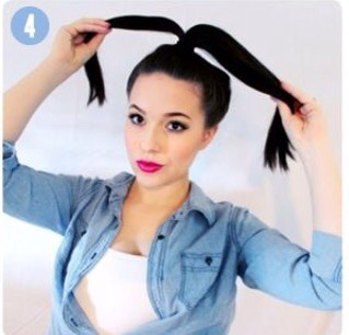 Take a small section from your ponytail