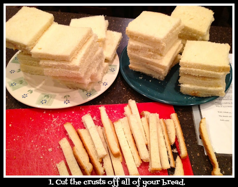 Cut the crust off your bread and roll out with a rolling pin