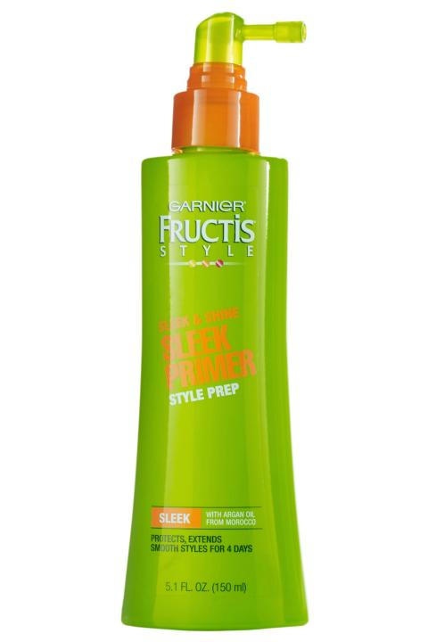 5. Garnier Sleek Primer Style Prep If you're taking the time to blow dry, curl or straighten your hair in the AM, be sure you do it right. Coat your strands with this primer prep for frizz-free silkiness and serious heat protection.
