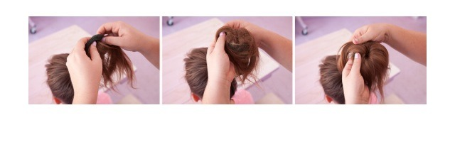 Once the sock is through pull it to the top of your ponytail and start folding down the hair until you reach the bottom.