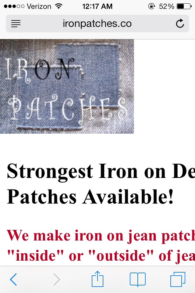 Last but not least iron on denim patches. This is the easiest way to fix jeans. You just iron on top of the hole or even put it where the jeans are wearing out. You can go to iron patches.com it find the brand on amazon. I bought these and they are amazing!