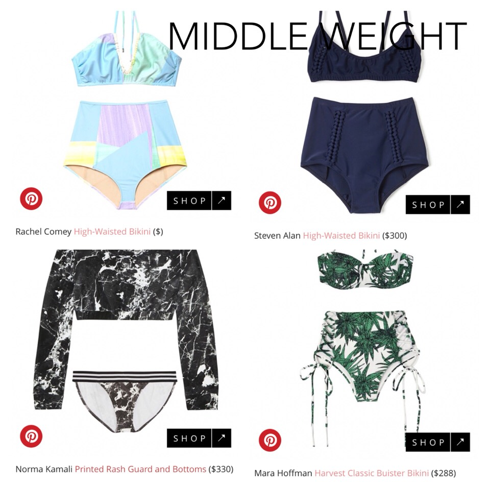 These are some good bathingsuits for the middleweight bodies!