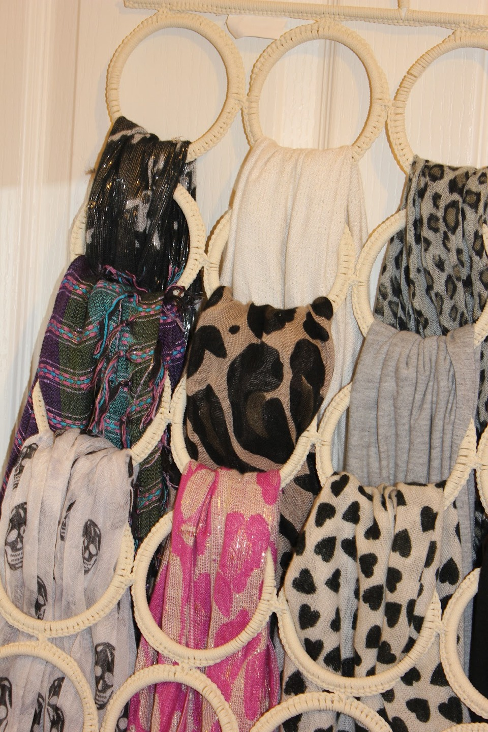 Get hoops and loop your scarfs around less hassle on trying to find a scarf u love