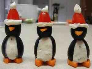 Christmas penguin appetizers