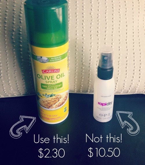 Spray It Down! Nail-Drying spray does help your polish set in a few minutes, but it's costly. Pam or any other cooking oil aerosols does the job as well. Just wait a few minutes to rinse your hands from the canola oil scent after you've sprayed it.