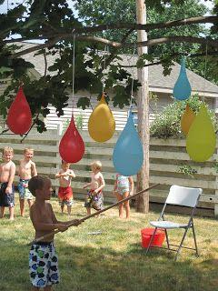Water balloon piñatas.  just fill and hang two packages of water balloons to a tree and give the kids a bat or something and let them break them for a fun summer to beat the heat with there friends
