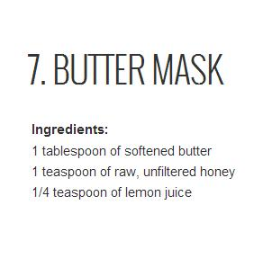 Butter might seem like an unusual ingredient for a face mask, but it is after all a fat! Combined with honey, another highly moisturizing ingredient, this mask will be sure to hydrate your dry skin.