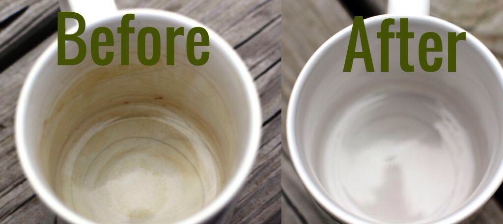 Place one tablespoon of baking soda inside the mug Pour two tablespoons of white vinegar inside the mug Use a brush or rag to mix the solution around the entire mug Leave solution in the mug to sit for 10 minutes Scrub the inside of the mug again while rinsing it out with warm water.