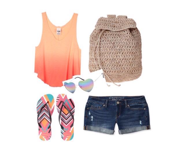 Shirt - Victoriassecret.com  Shorts - Aeropostale.com  Shoes - zappos.com  Bag - scoopnyc.com  Sunglasses - tillys.com