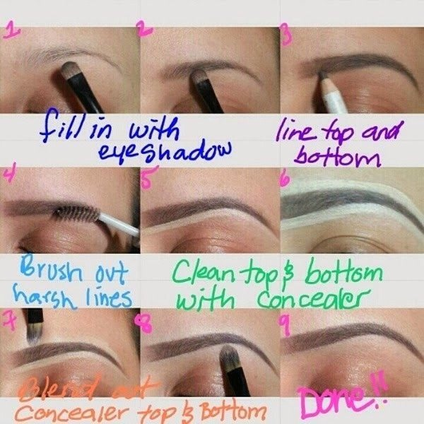 1. Fill in with eyeshadow  2.line top and bottom 3.brush out harsh lines 4.clean top&bottom with concealer 5. Blend out concealer top &bottom 6. Done!!