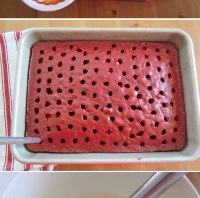 Poke holes into the cake using skewers