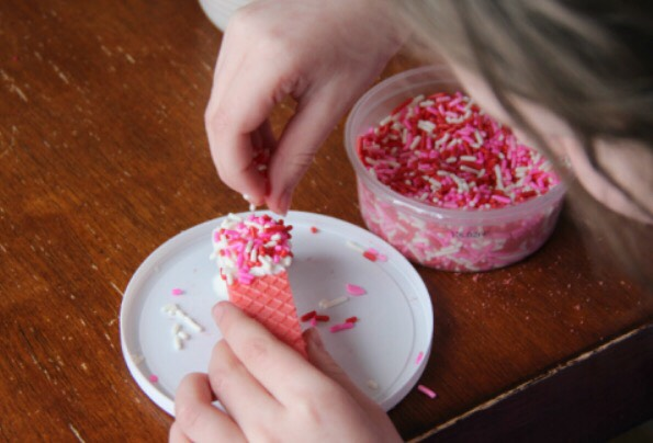 4. Quickly sprinkle on your chosen sprinkles.