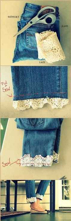 Add some lace to the bottom of your jeans for a classy look