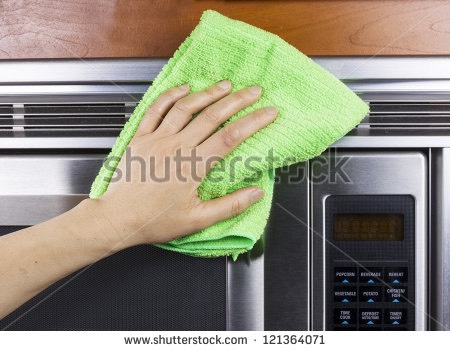 I use the kitchen washcloth to clean up the inside of your microwave. I use this solution to wipe off food crumbs and stains.