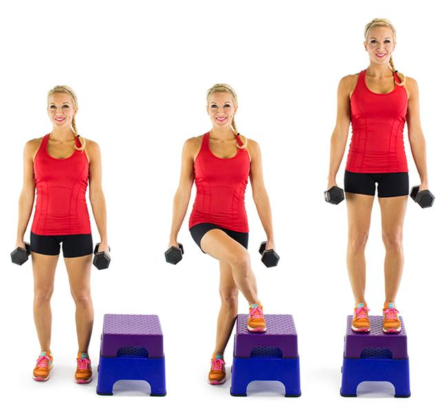 Crossover Step Up: Grab your dumbbells and get to work! Repeat the move as many times as you can for 30 seconds and then switch, so you're stepping up and crossing over with your other leg for another 30 seconds.